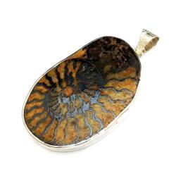 amonit,srebrny,maroko,wakacje,blask,srebrny,retro - Wisiory - Biżuteria