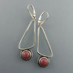 srebrne kolczyki z thulitem - Kolczyki - Biżuteria