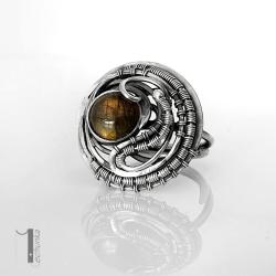 naszyjnik srebrny,labradoryt,wire wrapping - Pierścionki - Biżuteria