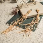 Kolczyki kolczyki z lnem,lniana biżuteria,drewno