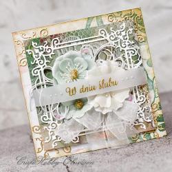 kwiaty,koronka,ślub,kartka ślubna - Kartki okolicznościowe - Akcesoria