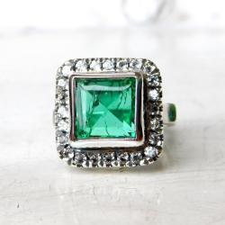 pierścionek ze szmaragdem i topazami - Pierścionki - Biżuteria