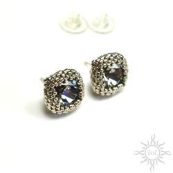 srebrne,sztyfty,kwadratowe,geometryczne,swarovski - Kolczyki - Biżuteria