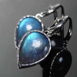 srebro,labradoryt,kolczyki,wiszące - Kolczyki - Biżuteria