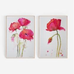 akwarela,kwiaty,maki - Obrazy - Wyposażenie wnętrz