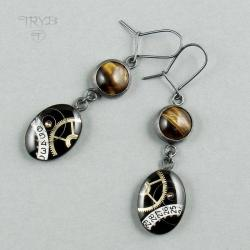 kolczyki,steampunk,tygrysie oko - Kolczyki - Biżuteria