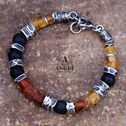 bransoleta z surowych bursztynów,surowa biżuteria - Dla mężczyzn - Biżuteria