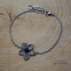szafir,bransoletka,regulowana,kwiat - Bransoletki - Biżuteria
