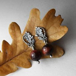 liście dębu,kasztany,srebrne liście,jesienne - Kolczyki - Biżuteria