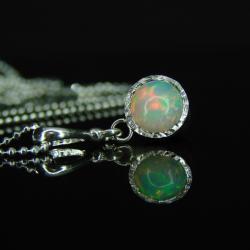 srebro,opal,naszyjnik,unikat - Naszyjniki - Biżuteria