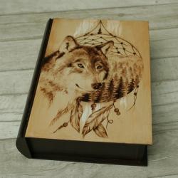 pirografia,wilk,las,łapacz - Pudełka - Wyposażenie wnętrz
