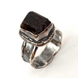 turmalin,czarny,blaks,srebrny,szary,retro,raw - Pierścionki - Biżuteria