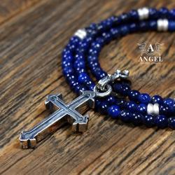 naszyjnik z krzyżem,męska biżuteria,koraliki - Dla mężczyzn - Biżuteria