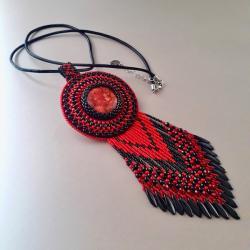 naszyjnik,haft koralikowy,czerwony - Naszyjniki - Biżuteria