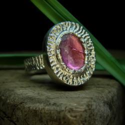 srebro,turmalin,pierścień,różowy - Pierścionki - Biżuteria