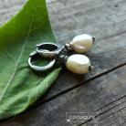 Kolczyki minimalistyczne,z perłami,srebrne,komplet