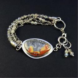 srebrna bransoletka z jaspisem - Bransoletki - Biżuteria