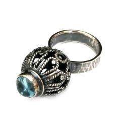 akwamaryn,srebrny,błękit,retro,woda,wiosna - Pierścionki - Biżuteria