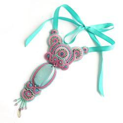 Unikalny naszyjnik z sutaszu z agatem - Naszyjniki - Biżuteria