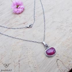 naszyjnik srebrny,biżuteria z rubinem,JewelsbyKT - Naszyjniki - Biżuteria