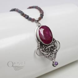 naszyjnik z rubinem,ekskluzywny naszyjnik - Naszyjniki - Biżuteria
