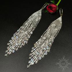 długie,ślub,srebrne,frędzle,błyszczące,lejące, - Kolczyki - Biżuteria