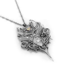 srebrny wilk,wisiorek wilk,amulet - Naszyjniki - Biżuteria