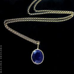 Szafir,pozłacany,delikatny,prosty - Naszyjniki - Biżuteria