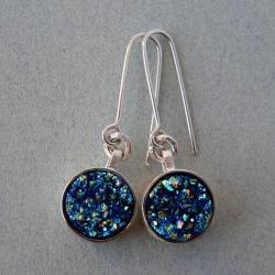 agatowa druza,srebrne kolczyki wiszące - Kolczyki - Biżuteria