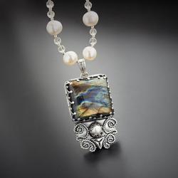 srebrny,naszyjnik,z perłami i labradorytem - Naszyjniki - Biżuteria