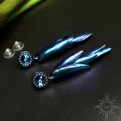 swarovski,niebieskie,efektowne,gronka,lekkie,żuk - Kolczyki - Biżuteria