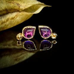 złoto,ametyst,kolczyki,sztyfty,unikat - Kolczyki - Biżuteria