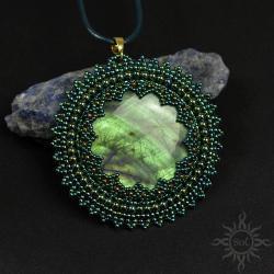 medalion,zielony,labradoryt,okrągły,ażurowy,leśny, - Wisiory - Biżuteria