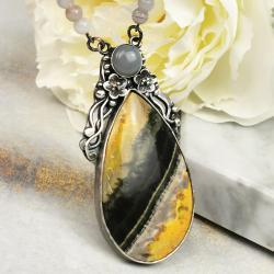 naszyjnik premium srebrny jaspis unikat - Naszyjniki - Biżuteria