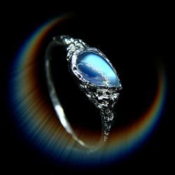 srebro,moonstone,pierścionek,niebieski,unikat - Pierścionki - Biżuteria