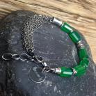Bransoletki bransoletka srebrna,bransoletka z onyksem zielonym