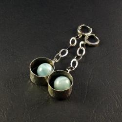 srebrne kolczyki z akwamarnem - Kolczyki - Biżuteria