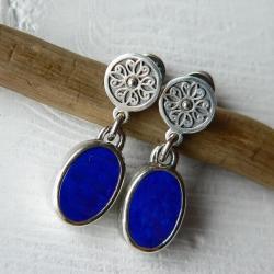 niebieskie kolczyki,z lapisem lazuli,ornamentowe - Kolczyki - Biżuteria