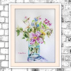 akwarela,kwiaty,martwa natura,delikatny - Obrazy - Wyposażenie wnętrz
