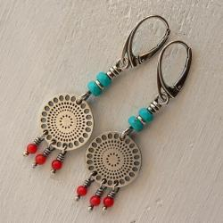 z koralem,boho styl,lekkie kolczyki,długie - Kolczyki - Biżuteria