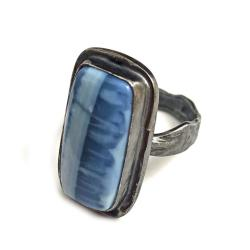 opal,afryka,błękit,szarości,retro,minerał - Pierścionki - Biżuteria