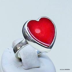 pierścionek z koralem,srebro,biżuteria,pierścionki - Pierścionki - Biżuteria