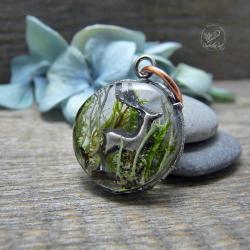 żywica,mech,natura,las,jeleń,srebrny - Wisiory - Biżuteria