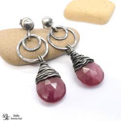 kolczyki,otulone,rubin,srebro,róż,naturalne, - Kolczyki - Biżuteria