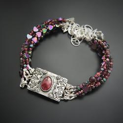 srebrna,bransoletka,z turmalinem i rubinem - Bransoletki - Biżuteria