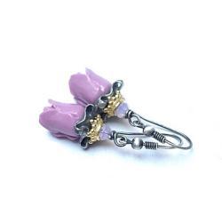 kwiaty,romantyczne,róże natura - Kolczyki - Biżuteria