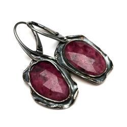 kolczyki rubin,blask,bordowe,srebrne,surowe,retro - Kolczyki - Biżuteria