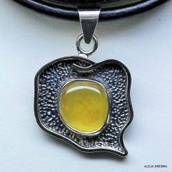 bursztyn,wisior z bursztynem,srebro,biżuteria - Naszyjniki - Biżuteria