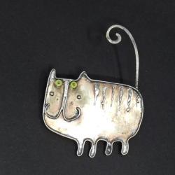kot,dodatek,broszka,jaspis zielone oko - Broszki - Biżuteria