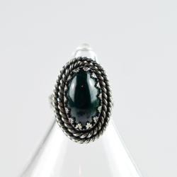 pierścionek,retro,zielony,malachit,regulowany - Pierścionki - Biżuteria